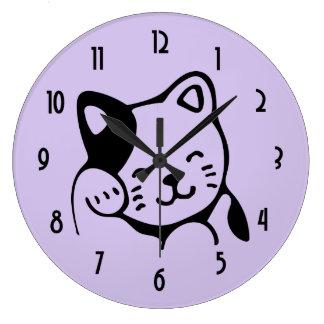 Niedliche Schwarzweiss-Kitty-Katzen-wellenartig Große Wanduhr
