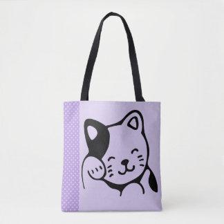 Niedliche Schwarzweiss-Kitty-Katzen-wellenartig Tasche
