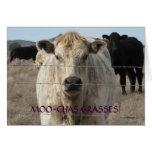 Niedliche Schwarzweiss-Kuh danken Ihnen - Ranch od Karten