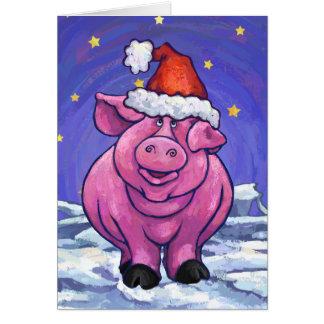 Niedliche Schwein-Feiertags-Karte Mitteilungskarte
