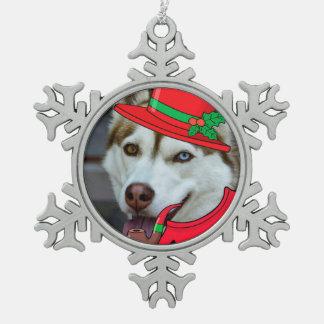 Niedliche sibirischer schneeflocken Zinn-Ornament