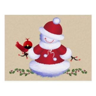 Niedliche Snowman-Postkarte mit Vogel für Kinder, Postkarte