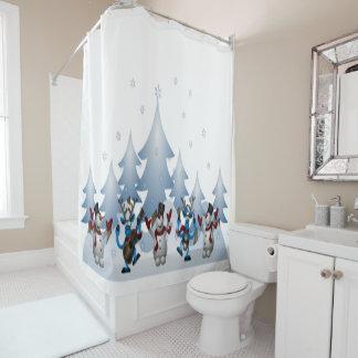 Niedliche Snowmen und verrückter Duschvorhang