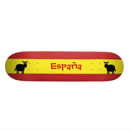 Niedliche spanische Stiere u. Flagge Skate Board