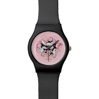 Niedliche Stier-Terrierwelpen-Cartoonuhr im Armbanduhr