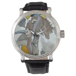 Niedliche streichelnde Ziegen Armbanduhr