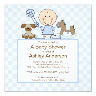 Niedliche Strichmännchen-Jungen-Baby-Dusche Quadratische 13,3 Cm Einladungskarte