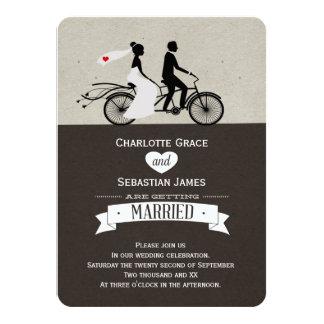 Niedliche Tandemfahrrad-Braut-und 11,4 X 15,9 Cm Einladungskarte