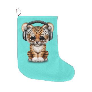 Niedliche tragende Kopfhörer Tiger-CUBs Großer Weihnachtsstrumpf