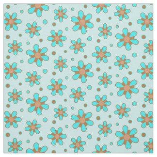 Niedliche Türkis-blaues Brown-Blumen-Blumendruck Stoff