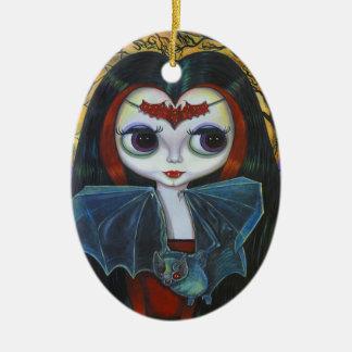 Niedliche Vampire-Puppe mit Schläger-Verzierung Keramik Ornament