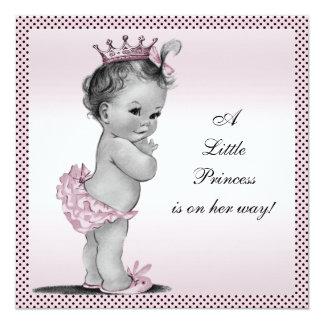Niedliche Vintage Dusche Prinzessin-Baby Quadratische 13,3 Cm Einladungskarte