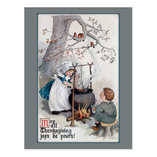 Niedliche Vintage Erntedank-Kinder Postkarte