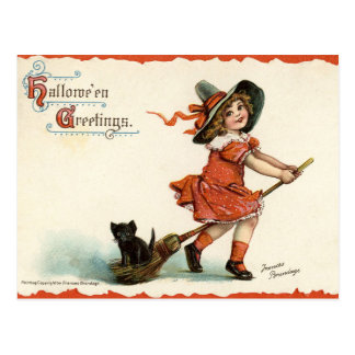 Niedliche Vintage Hexe auf Postkarte