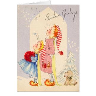 Niedliche Vintage Kinder, die Weihnachtskarte Grußkarte