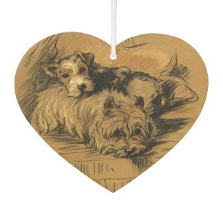 Niedliche Vintage Terrier-Welpen, Welpen-Hunde, Autolufterfrischer
