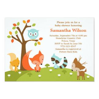 Niedliche Waldtier-Einladung 12,7 X 17,8 Cm Einladungskarte