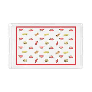 Niedliche Wassermelone, Hamburger, Würstchen, Acryl Tablett