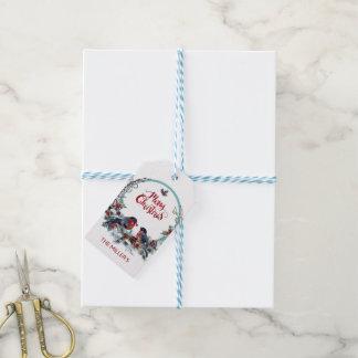 Niedliche WatercolorBullfinches Wreath und Vögel Geschenkanhänger