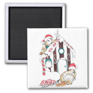 Niedliche Weihnachtsbiber-Chalet-Verzierung Quadratischer Magnet