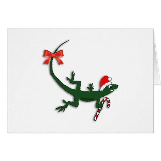 Niedliche Weihnachtseidechsen-kundenspezifische Grußkarte