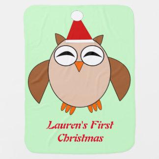 Niedliche Weihnachtseulen-kundenspezifische Babydecke
