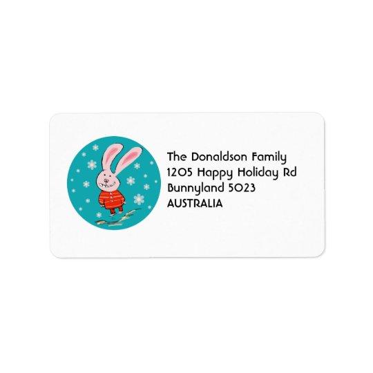 Niedliche Weihnachtshäschen-Adressen-Etiketten Adressetiketten