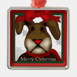 Niedliche Weihnachtshäschen-Prämien-Verzierung Quadratisches Silberfarbenes Ornament