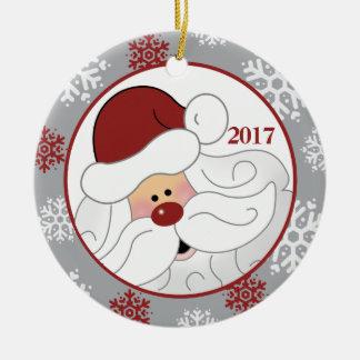 Niedliche Weihnachtsmann-Feiertags-Verzierung - Rundes Keramik Ornament
