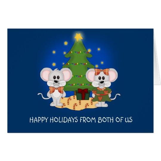 Niedliche Weihnachtsmäuse mit kundengerechtem Text Karte