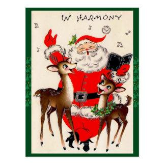 Niedliche Weihnachtspostkarte des Gesang-Sankt Postkarte
