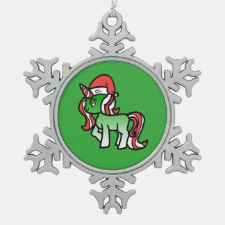 Niedliche Weihnachtsunicorn-Verzierung - grüner Schneeflocken Zinn-Ornament