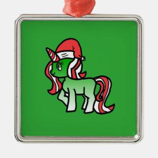 Niedliche Weihnachtsunicorn-Verzierung - grüner Silbernes Ornament