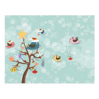Niedliche Weihnachtsvogel-Postkarte Postkarte