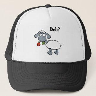 Niedliche weiße Lamm-Schafe mit der roten Blume Truckerkappe