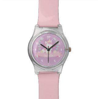 Niedliche weiße Unicorn-Blumen-und Armbanduhr