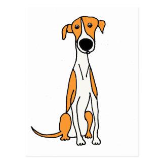 Niedliche Windhund-HundeCartoon-Vorlage Postkarte
