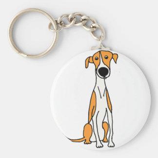 Niedliche Windhund-HundeCartoon-Vorlage Schlüsselanhänger