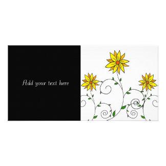 Niedliche wunderliche gelbe Blumen-Gekritzel-Kunst Karte