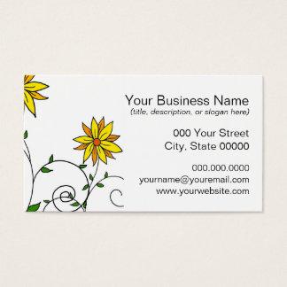 Niedliche wunderliche gelbe Blumen-Gekritzel-Kunst Visitenkarte