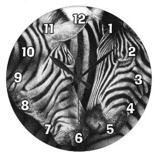 Niedliche Zebras-Wand-Uhr Große Wanduhr