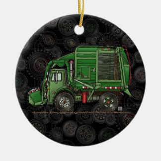 Niedlicher Abfall-LKW-Abfall-LKW Rundes Keramik Ornament
