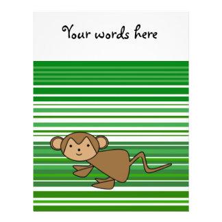 Niedlicher Affe auf den grünen und weißen Streifen 21,6 X 27,9 Cm Flyer