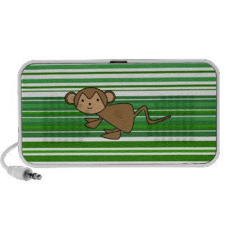 Niedlicher Affe auf den grünen und weißen Streifen Mobile Lautsprecher