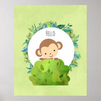Niedlicher Affe, der heraus von hinten einen Bush Poster