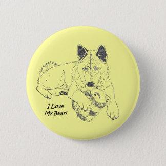 Niedlicher Akita-Hund und Teddybär, der Runder Button 5,7 Cm
