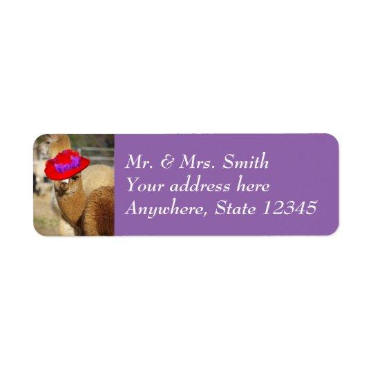 Niedlicher Alpaka-Rücksendeadressen-Aufkleber Rückversand-Adressaufkleber