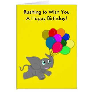 Niedlicher Baby-Elefant mit Ballon-Geburtstag Karte