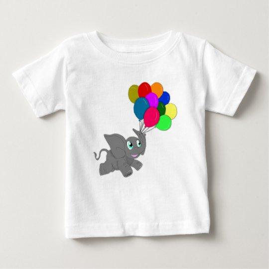 Niedlicher Baby-Elefant mit Ballonen Baby T-shirt