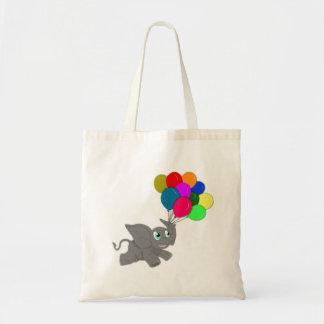 Niedlicher Baby-Elefant mit Ballonen Budget Stoffbeutel